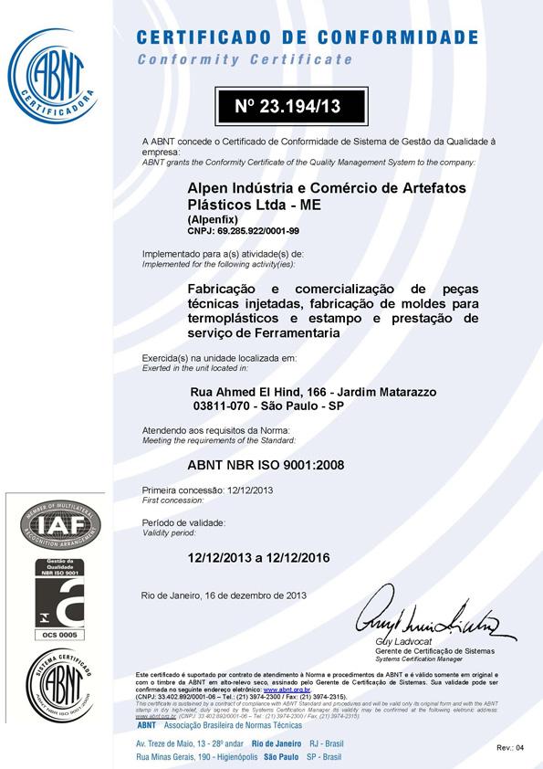 ISO certificado
